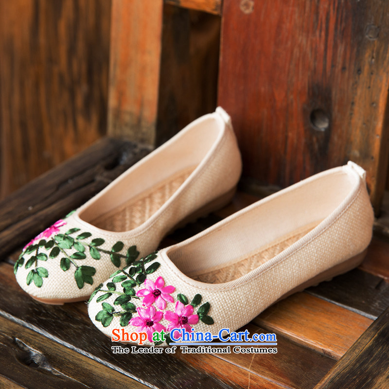 Chung Pavilion Old Beijing ethnic women shoes reap reap the ground beef tendon bottom embroidered shoes flowers embroidered shoes, casual shoes A-509 home white 39