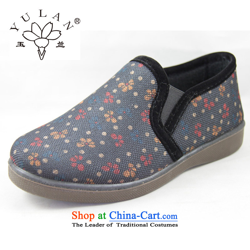 Magnolia Old Beijing mesh upper for autumn and winter, women shoes floral high state wear sneakers non-slip sole and comfort and breathability in older folder shoes mother shoe 2616-284 Blue37