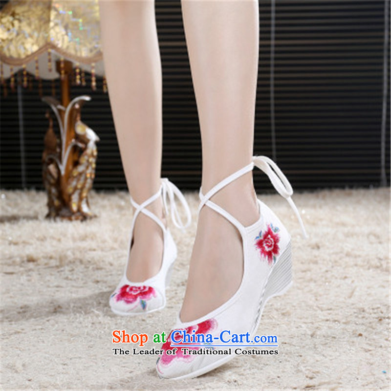 2015 new old Beijing mesh upper with slope shoes embroidered shoes high-heel shoes Ms. ethnic white shoes Princess 37