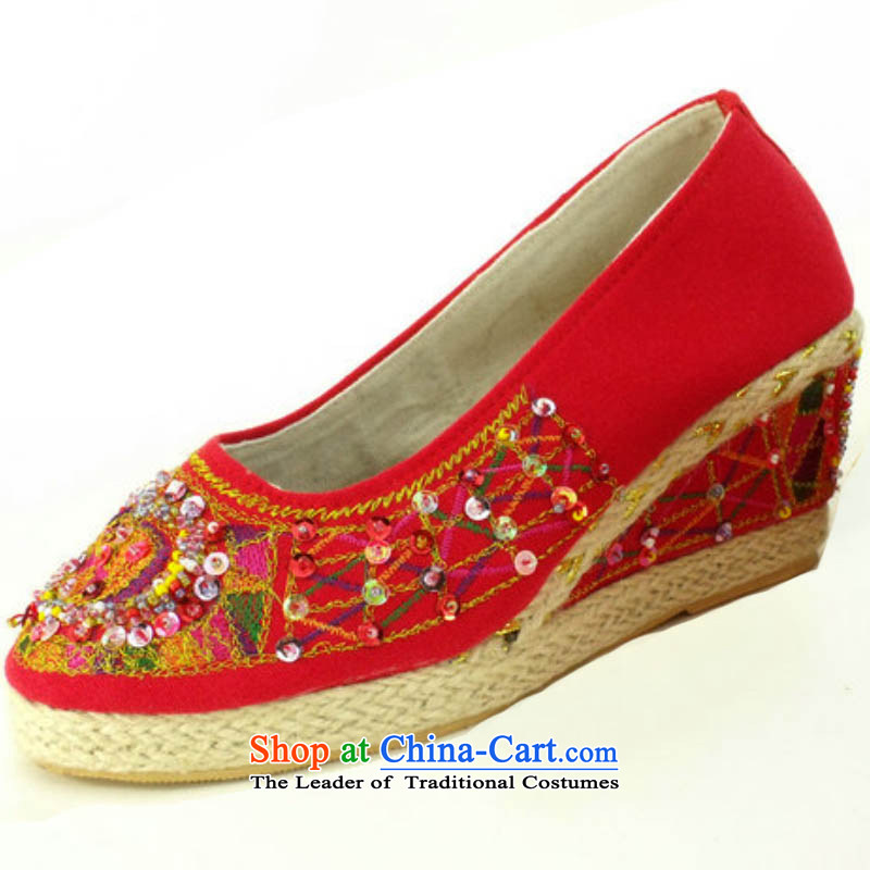 Genuine Old Beijing mesh upper with slope pearl embroidered shoes stylish single shoes comfortable shoes bride shoes A-28 Red 37