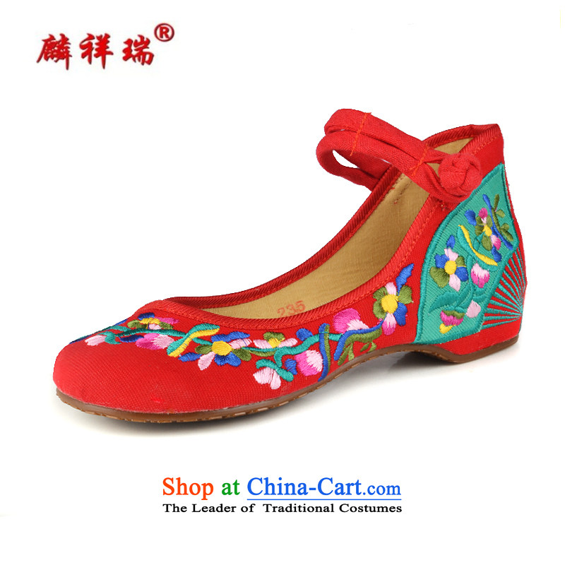 Lun Cheung Shui (LINXIANGRUI) spring and summer new old Beijing Plaza of ethnic dances mesh upper strap embroidered shoes comfortable shoes women increased within Annex 6628Red 37