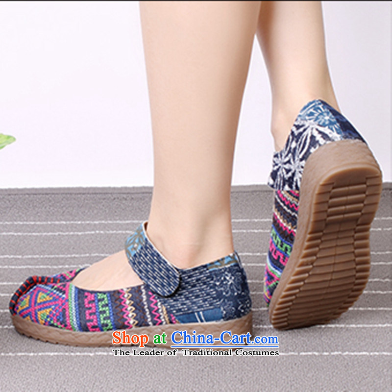 Mesh upper with new anti-slip soft ground women shoes increased Shoes Plaza Dance Shoe mother shoe then embroidered shoes 4403 Blue 39