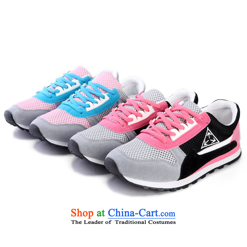 Mesh upper with old Beijing spring and summer new women's single shoe breathable engraving female Internet shoes, casual women shoes walking motion shoes Shoe Drive Light Blue38