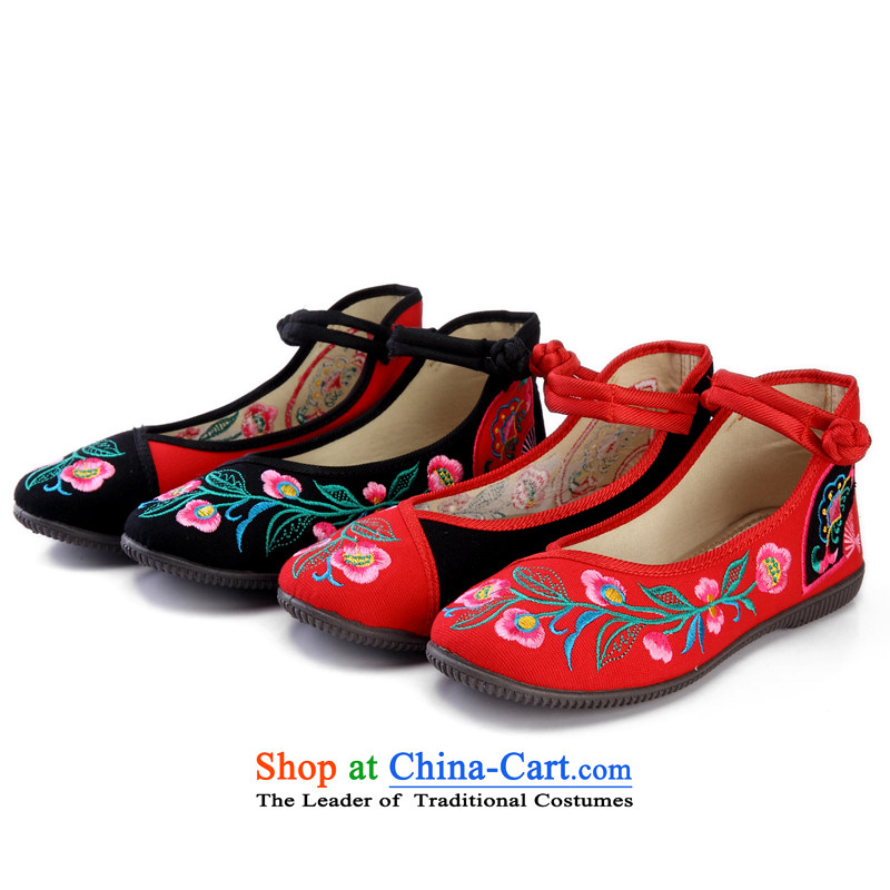 In spring and summer 2015 new ethnic embroidered shoes of Old Beijing mesh upper hasp female single black shoes stylish mesh upper38