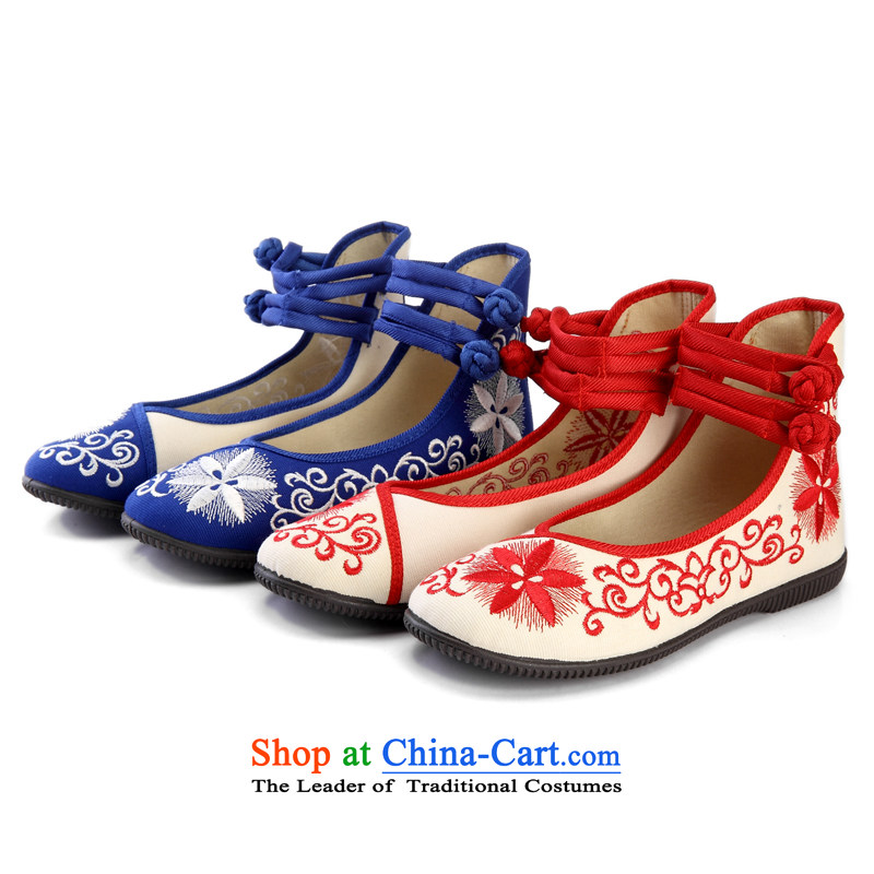 In spring and summer 2015 new women's shoe-embroidered shoes of Old Beijing women shoes single shoe mesh upper ethnic embroidered shoes comfort and breathability Blue 39