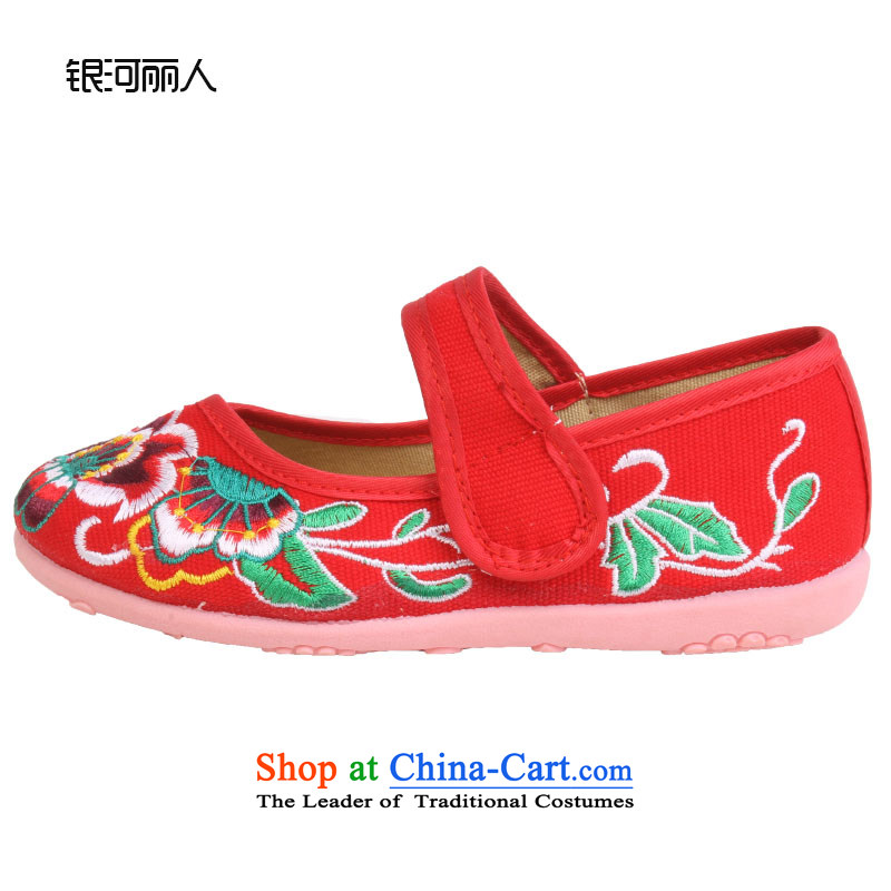 Girls dancing shoes of Old Beijing children's shoes mesh upper embroidered shoes bottom beef tendon baby Shoes Show shoes shoes 8203 Red聽31 students codes_inner length of 21cm