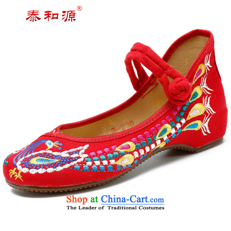 The Thai and source of Old Beijing classic mesh upper hand shoe ethnic pattern embroidery mesh upper breathability and comfort waterproof glue bottom light casual women single shoe 217 21701 Red Bong-37