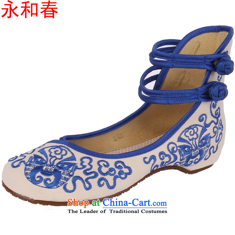 Genuine Old Beijing mesh upper couture embroidered shoes porcelain women shoes increased within square dancing shoes 0003 0028 Blue 36