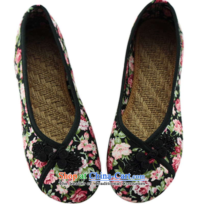 Oriental Kai Fei 2015 new old Beijing mesh upper ethnic dance embroidered shoes women shoes beef tendon flat bottom linen single mother shoe shoes comfort kit pin shoes black 37