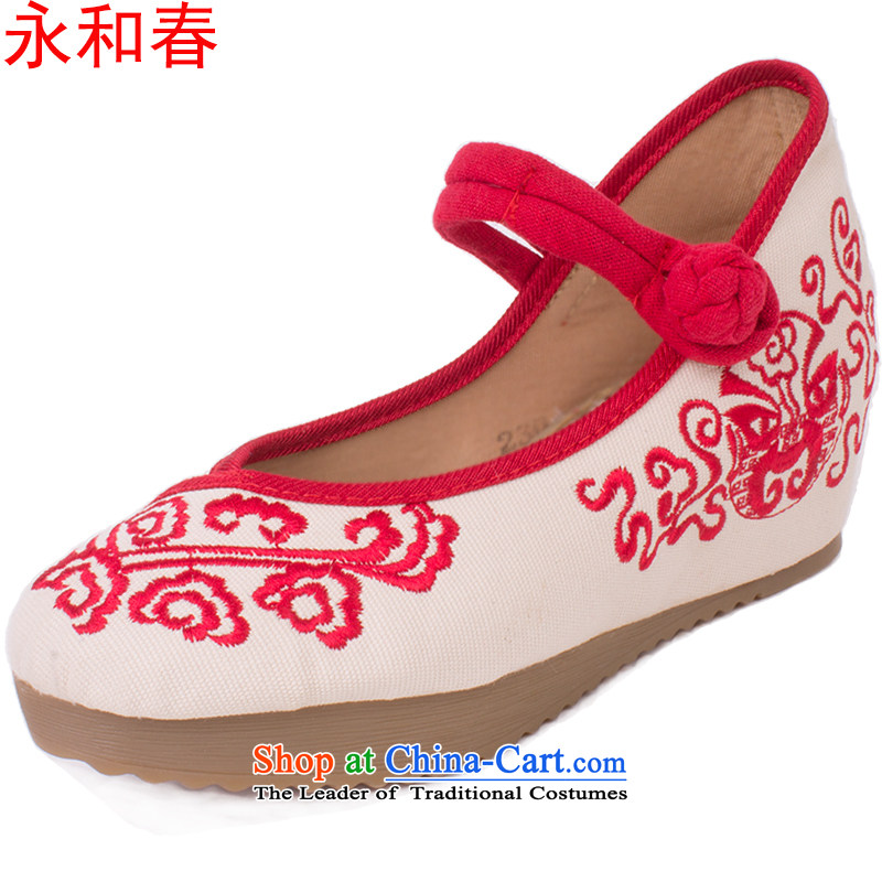 Mr Ronald new stylish girl shoe fall within a single shoe linen increase beef tendon bottom embroidered shoes retro ethnic mesh upper 1915 Red聽36 sec