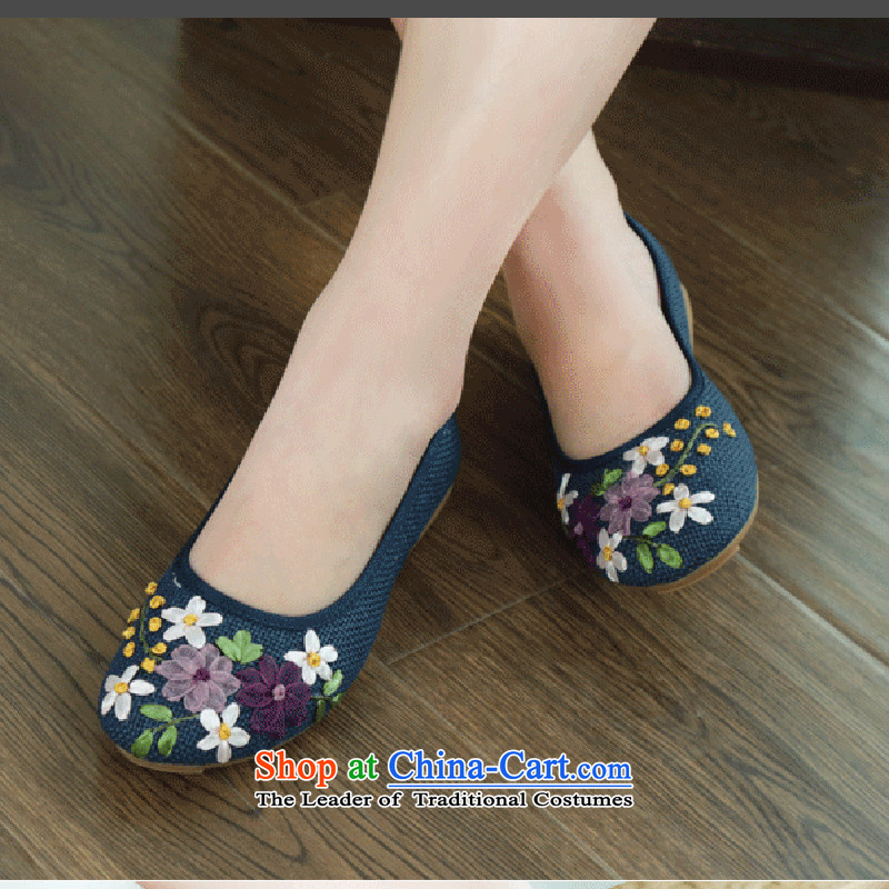 Oriental Kai Fei 2015 new women's shoe old Beijing mesh upper ethnic embroidered shoes flat bottom tsutsu mother shoe foot shoes linen single shoes comfortable Plaza dancing shoes 2812 Blue 36