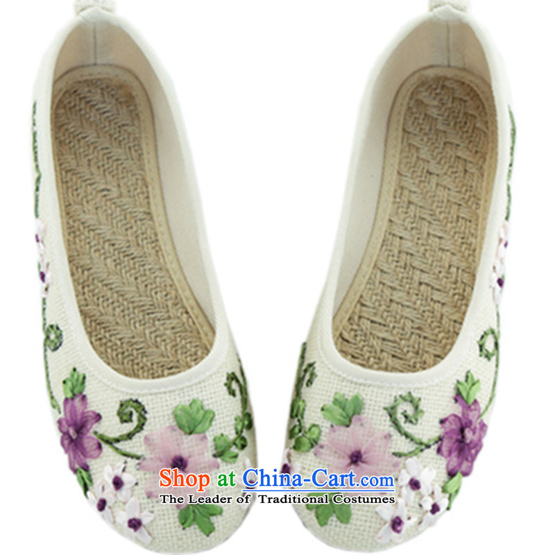 Oriental Kai Fei 2015 new old Beijing mesh upper with shoe papyeong ethnic embroidered shoes bottom beef tendon linen single mother shoe shoes聽515 white聽36