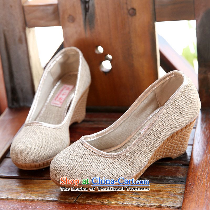 Chung Pavilion Old Beijing mesh upper ethnic women single shoes linen slope with the embroidered shoes autumn leisure the the high-heel shoes W-529 beige 36