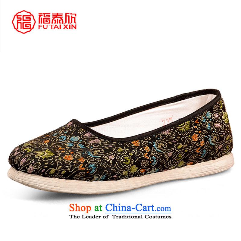 Fu Tai Yan women shoes bottom thousands of old Beijing mesh upper women of ethnic flat bottom manually satin embroidered cockscomb Gigabit backplane cockscomb sea $38