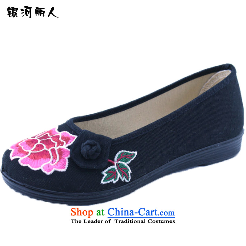 Support C.O.D. 2015 women shoes of Old Beijing mesh upper flat bottom square dancing shoes female ethnic embroidered shoes single mother shoe 1327 black shoes 36