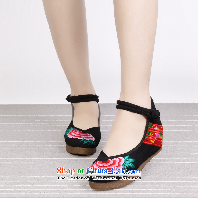 15 The new genuine old Beijing Dance ethnic linen cloth shoes retro embroidered shoes increased within the Women's Shoe 1913 Black35