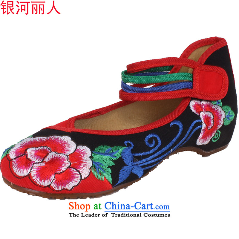 Mesh upper with genuine old Beijing women shoes single shoe retro ethnic embroidered shoes increased within Fashion Shoes female mesh upper black 1832 38
