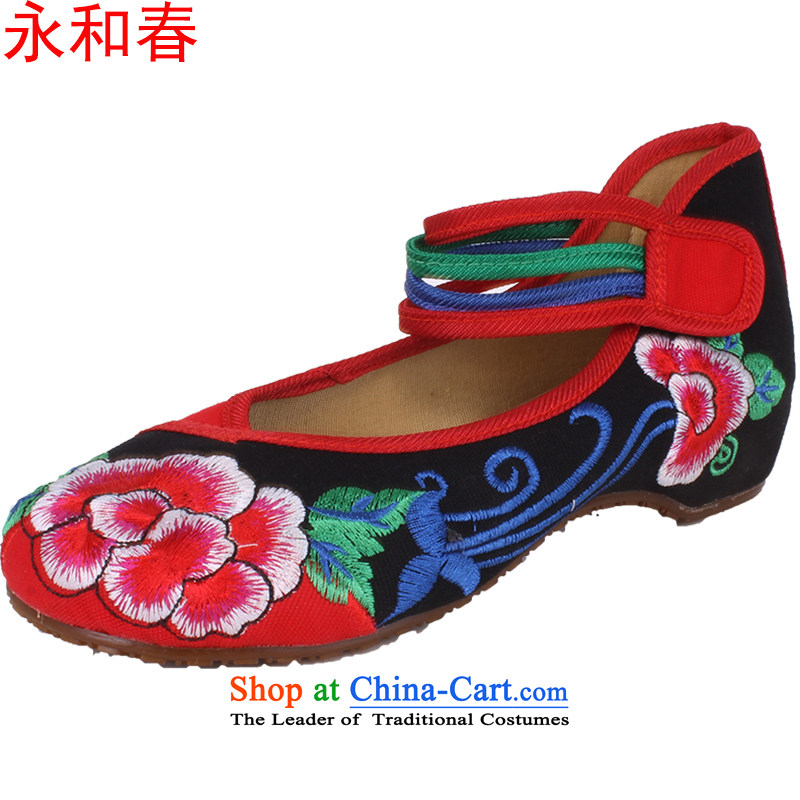 Mesh upper with genuine old Beijing Dance ethnic linen retro embroidered shoes increased within the Women's Shoe 1832 Black 40