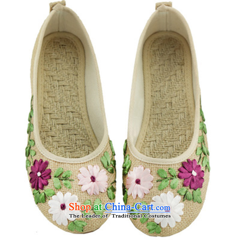 Oriental Kai Fei 2015 new women's shoe old Beijing pregnant women shoes mesh upper linen pregnant women shoes beef tendon flat bottom embroidered shoes comfortable shoes Plaza, single moms dancing shoes beige 35