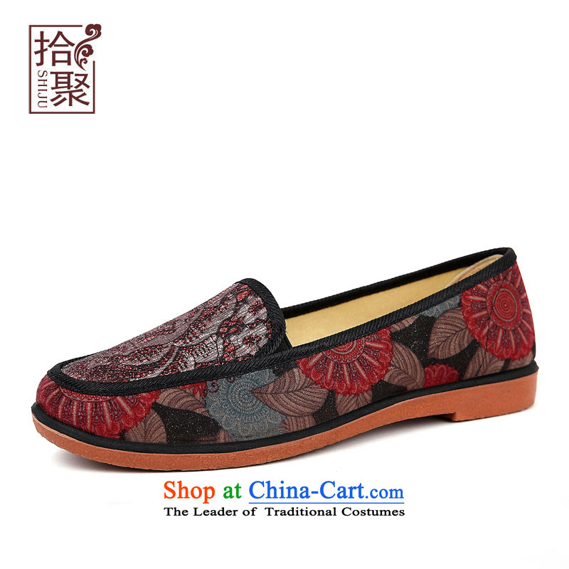 The fall of the new 2015 Old Beijing mesh upper women shoes stylish and cozy single shoes, flat shoe of older persons in the embroidered shoes breathable soft bottoms mother shoe-pin10817 children black37