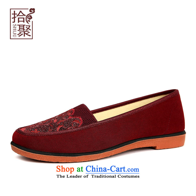 Pick from the old Beijing mesh upper for women2015 Autumn new pin single embroidered shoes kit cloth of older persons in the mother shoes, flat shoe mother shoe is elegant and modern10813 Red39