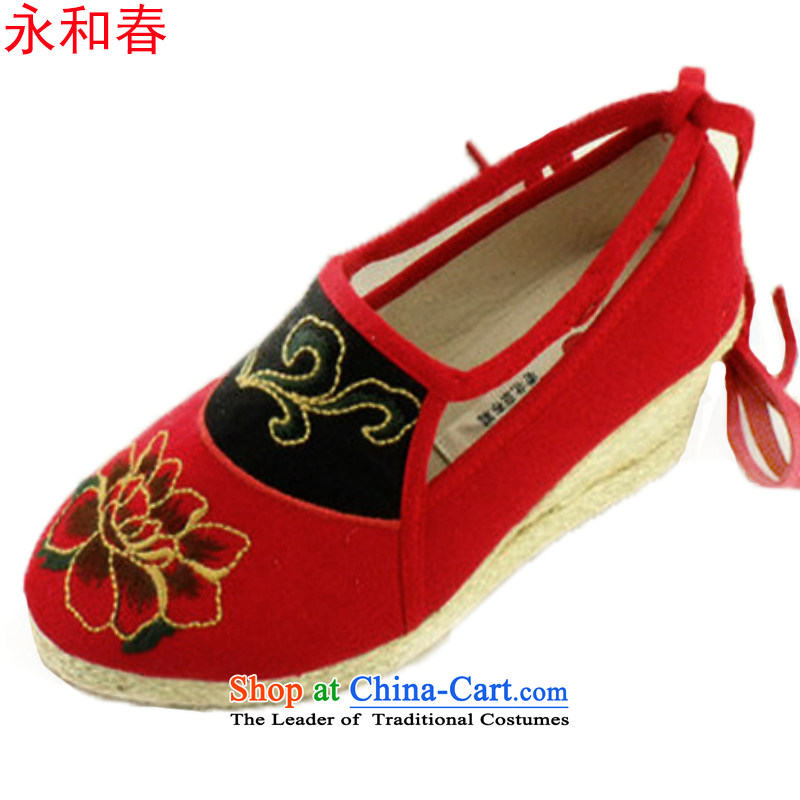 Modern woman shoes Tai Pei with embroidered shoes genuine old Beijing comfortable single A1005 shoes mesh upper Red36