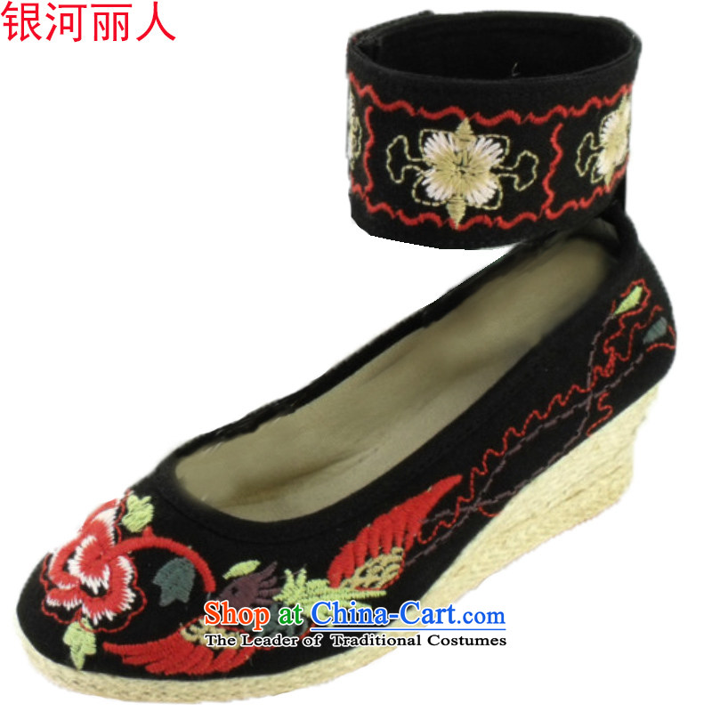Genuine Old Beijing mesh upper with women shoes slope stylish embroidered shoes business of fashion woman shoes, 1002 Black 36
