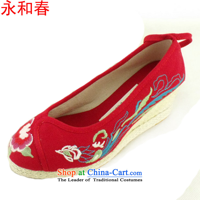 Stylish genuine old Beijing mesh upper with side slope Ma Tei embroidered shoes comfortable shoes, casual shoes princess increase women shoes single shoe 1003 Red 36