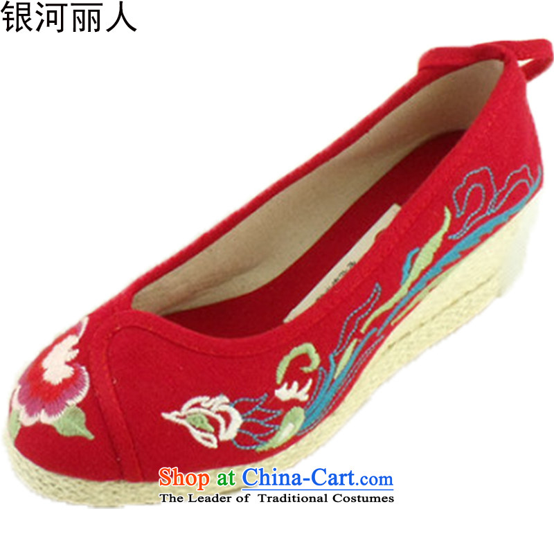 Ethnic Women shoes of Old Beijing Phoenix opera Peony mesh upper embroidered shoes women shoes slope fashion woman shoes 1003 Red 35