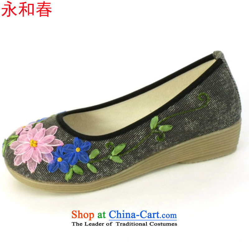 Classic round head women shoes genuine old Beijing mesh upper embroidered shoes bottom mother shoe stylish thick women shoes 2811 2811 Black 37