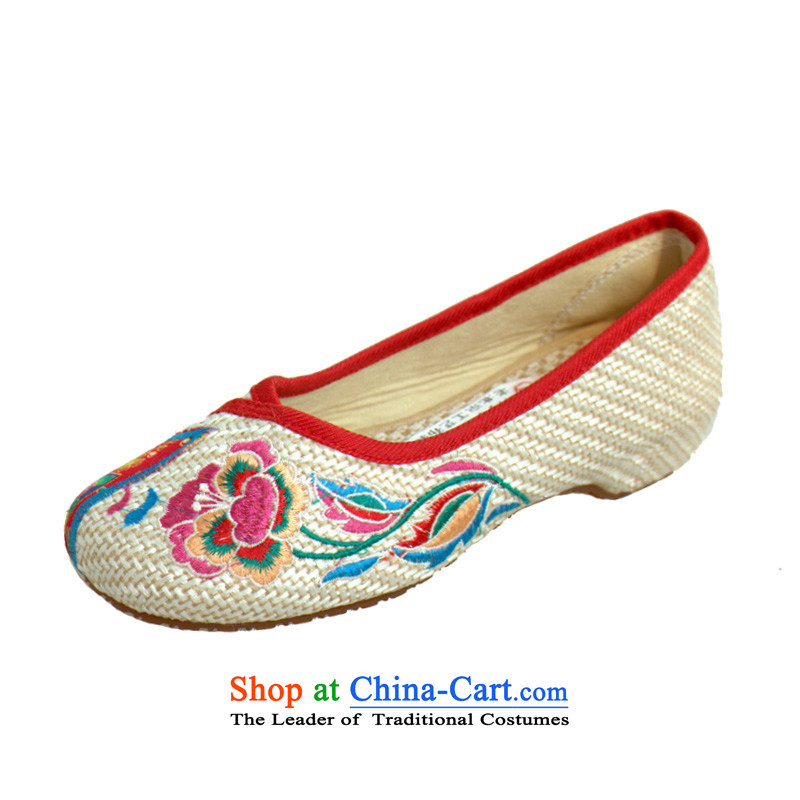 The spring and summer of Old Beijing mesh upper ethnic embroidered shoes with soft, comfortable single flat bottom shoe cotton linen flax increased within the slope with flowers 15X-21 mesh upper m Yellow 39