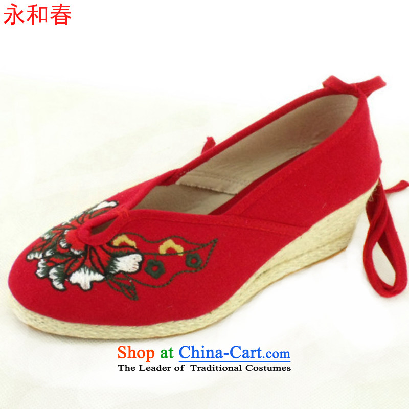 Mesh upper with old Beijing Ma slope fashion embroidered shoes of ethnic women shoes Princess Shoes, Casual Shoes A-2-3 Single Red 39