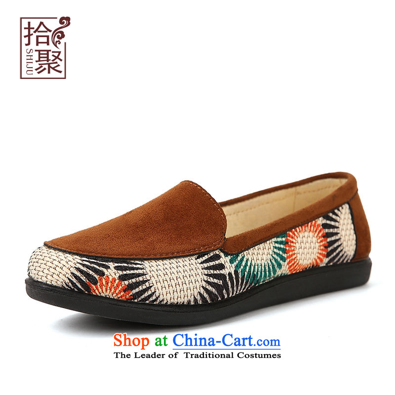 The new president then fall 2015 new shoes of Old Beijing embroidered shoes heel shoe with light of older persons in the mother-to-day casual women shoes comfortable shoes and Color 40-shoes
