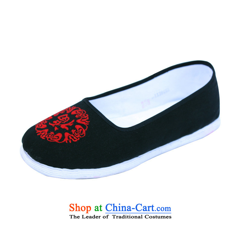 The bottom layer of thousands of shoes manually traditional old Beijing women's shoe-mesh upper with a flat bottom shoe has a non-slip shoes, older women mother light shoe ethnic embroidery port 001 Black / Fuk Field39