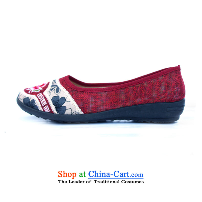 Mesh upper with old Beijing Women leisure shoes linen-embroidered shoes flat bottom spring and autumn female SHOES WITH SOFT, female embroidered shoes m red and gray 1502 Deep Red 38