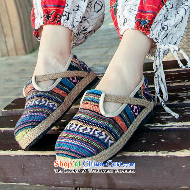 Fibonacci 2015 forest in the faculty of ethnic sisal weaving retro dolls shoes round head ma mesh upper flat bottom shoe sum Single Suit 38