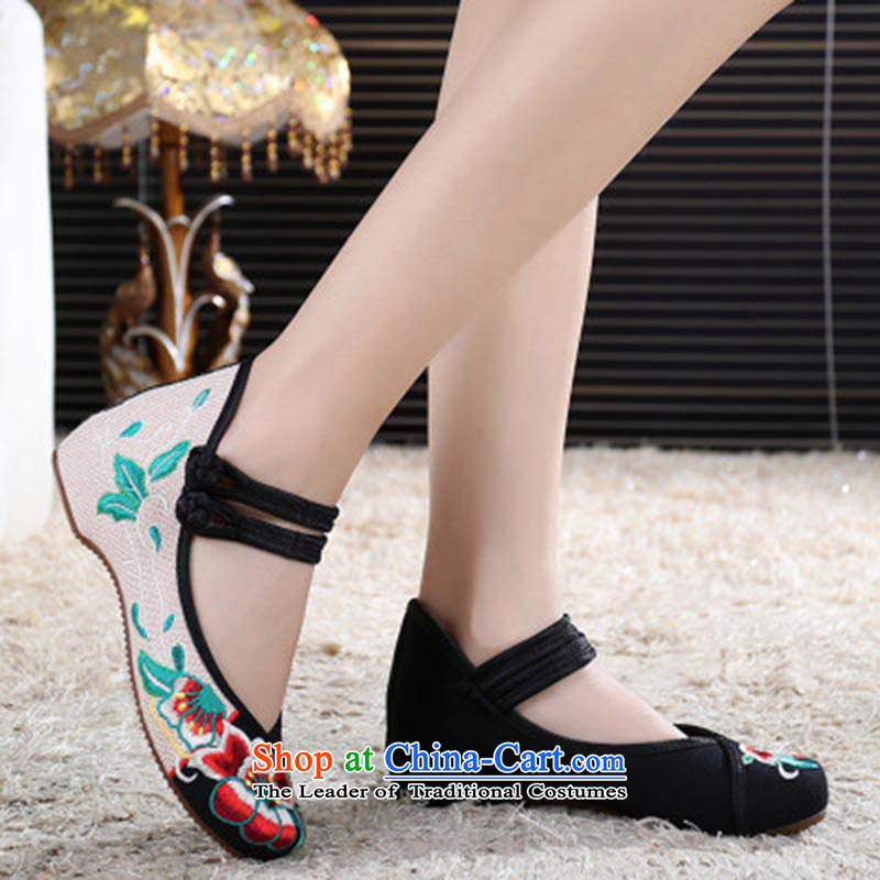 Dan Jie Shi 2015 Autumn new old Beijing mesh upper ethnic strap embroidered shoes with shallow slope port female single mother shoe fashion dance shoe shoes low black 35