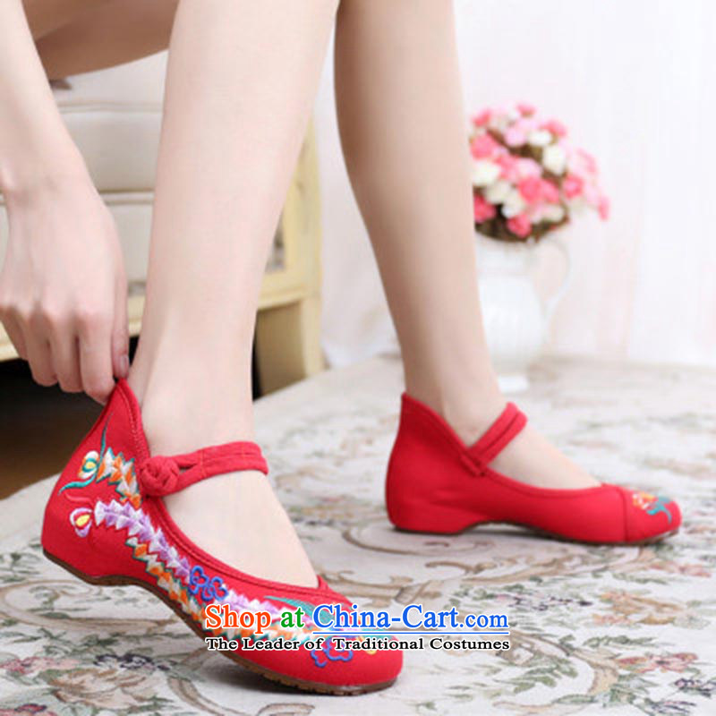 Dan Jie Shi 2015 Autumn new old Beijing mesh upper ethnic mother shoe embroidered shoes Plaza Dance Shoe Light port womens single shoes heel shoe-deduction slope women shoes Red 37