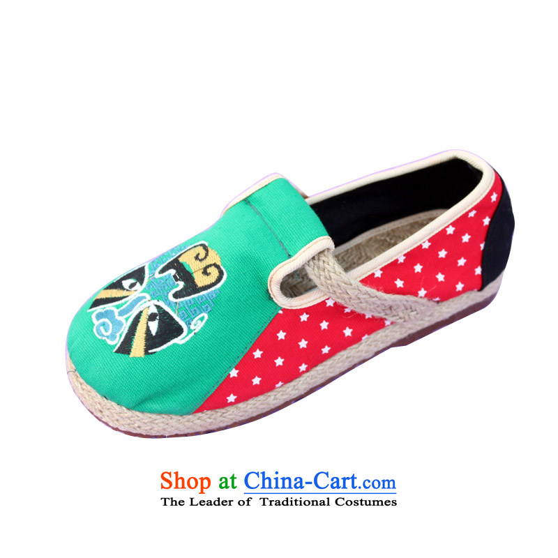 The old Beijing National wind-masks linen women embroidery retro version relaxd linen rubber floor mesh upper with shoe cake Green Red M-2 Green35