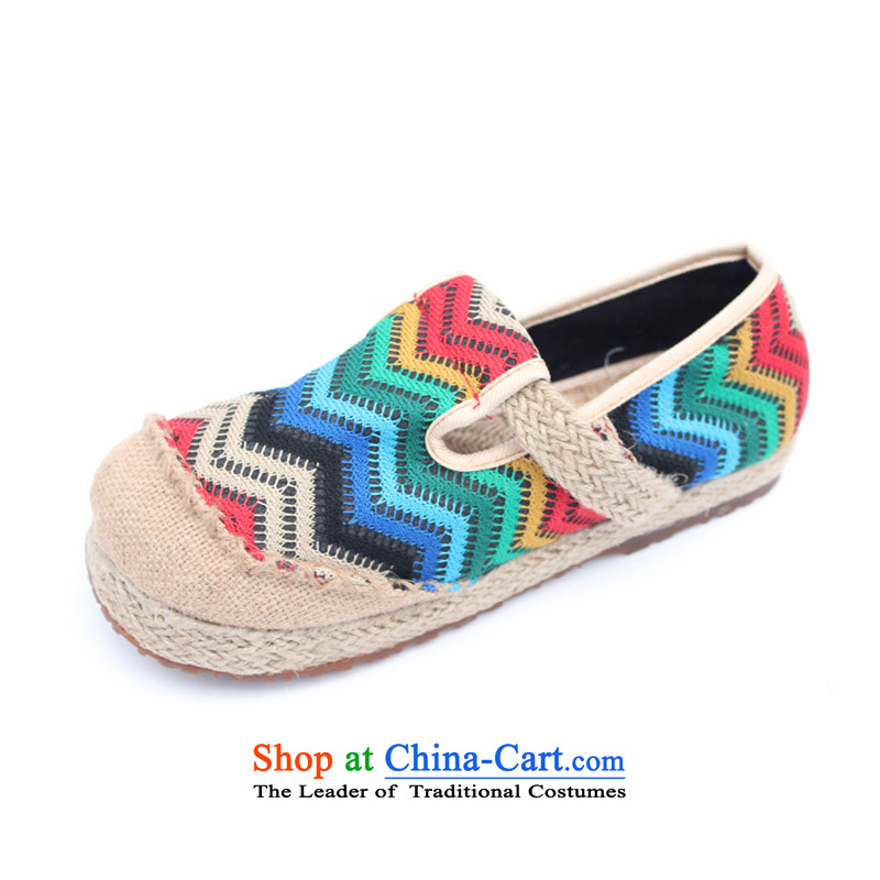Mesh upper with the old Beijing linen manually women shoes single shoe spring and summer new stylish ethnic embroidered shoes with leisure sandals Ms. flat leisure shoes M-3 blue color 40