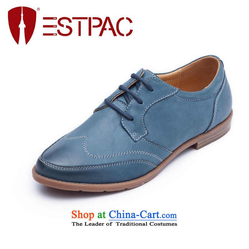 Ibrahim fall to the British Womens single shoe-wind with leather Oxford shoes pointed deep tether casual women shoes D01 Blue35