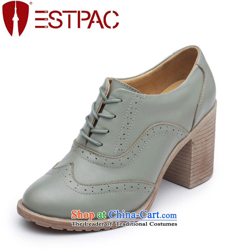 Ibrahim Spring Blok Oxford shoes female retro English lady's shoe leather high-heel bold points with shoes S01 gray and green36