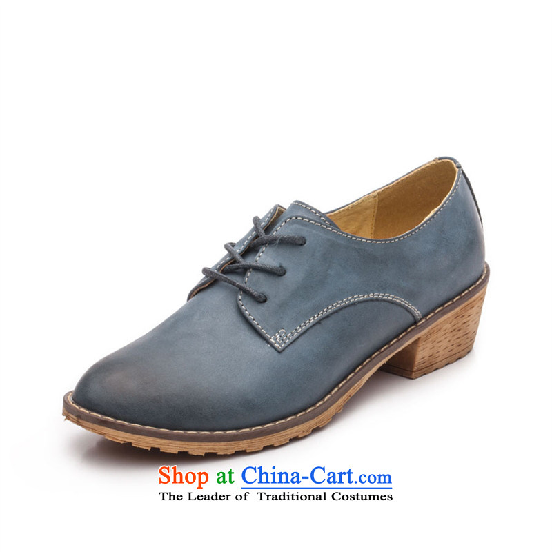 Ibrahim retro English lady's shoe leather tip wind Oxford shoes with leather lounge of rough with single women Z46 Blue36