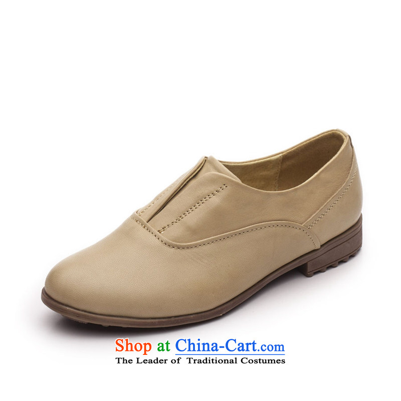 2015 Spring Ibrahim retro England womens single shoe leather shoes pin kit flat with Oxford shoes pointed D39 apricot color35