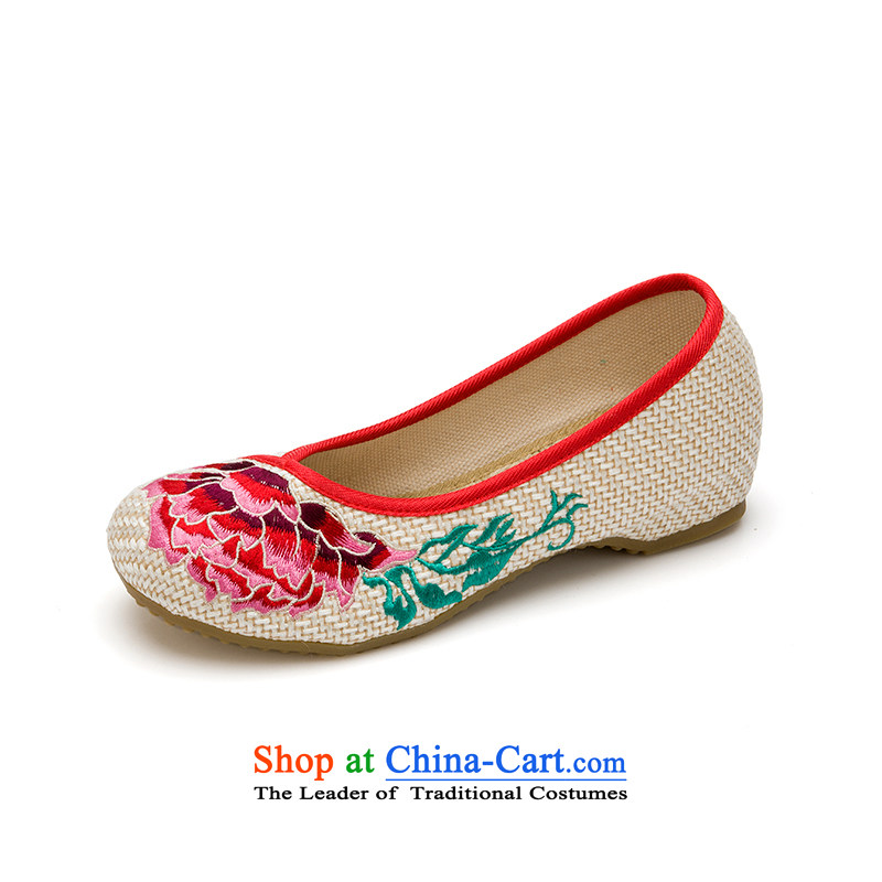 Mesh upper with old Beijing women shoes spring and summer embroidered shoes of ethnic mesh upper inside the slope rising Hibiscus with tray clip women shoes Mudan M 40