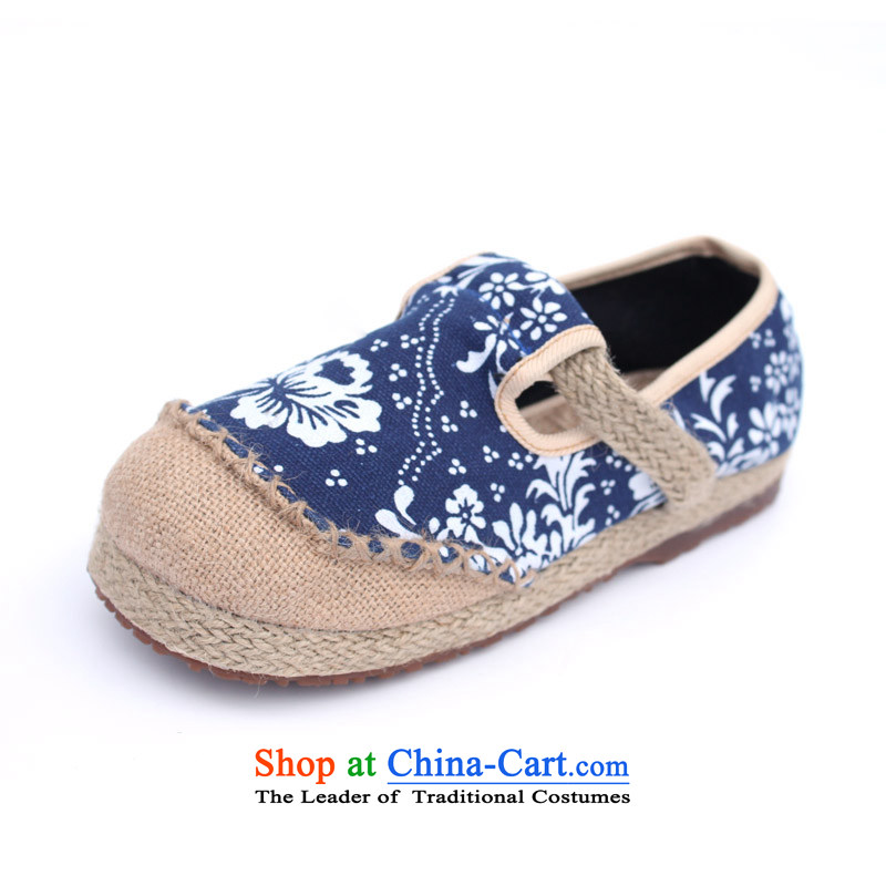 Flax Old Beijing summer leisure breathable mesh upper with Ms. Loose embroidered shoes porcelain uppers national FENG PING with trifles sandals slippers variety of multi-colored聽porcelain Interstate聽37