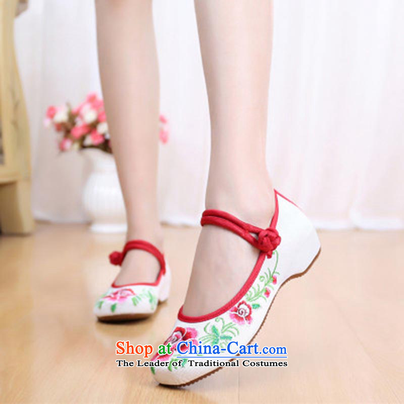Dan Jie Shi 2015 Autumn new wealth peony embroidered shoes of Old Beijing mesh upper ethnic retro embroidered shoes Plaza Dance Shoe stylish girl shoe cowboy color 37, Single Bin Laden James (DANJIESHI) , , , shopping on the Internet