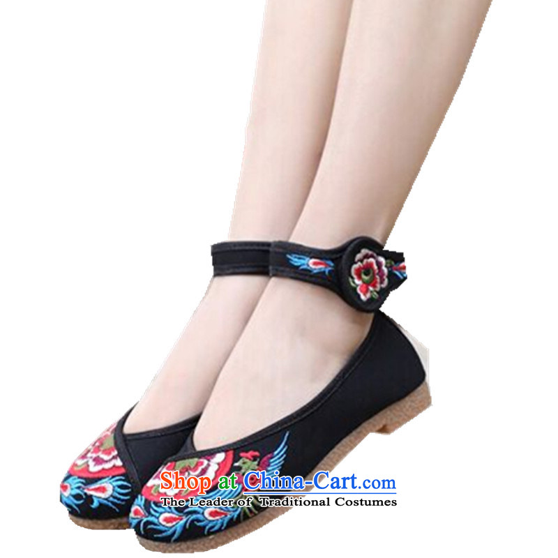 During the spring and autumn embroidered shoes peacock ethnic dancers shoes comfortable shoes Plaza flat with beef tendon soft bottoms single shoes with soft, flower embroidery China wind black 34