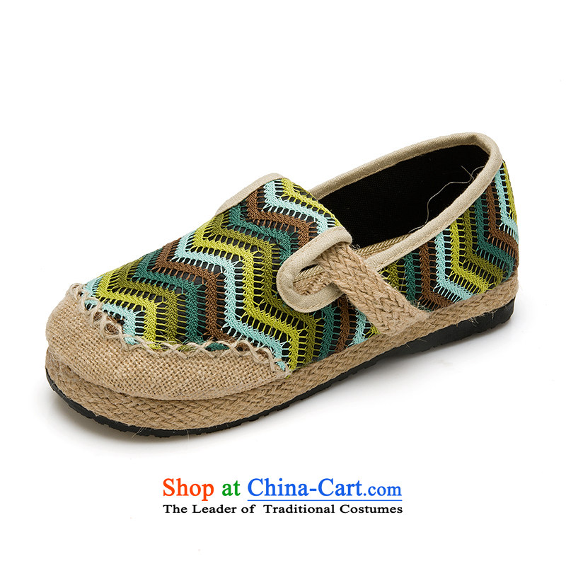 Thailand embroidered ethnic hand-foot pension embroidery linen straw Dance Arts Sum Tang date of female strap shoes Green35
