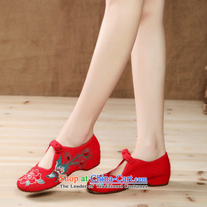 Mesh upper with the new summer ethnic slope with leisure shoes anti-slip soft ground with women shoes single shoe embroidered shoes Red 37
